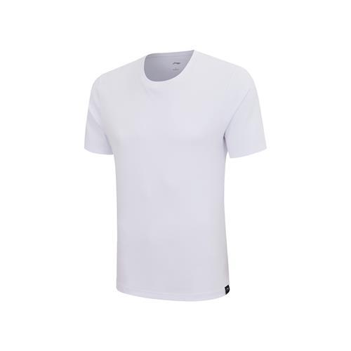 李宁经典圆领短袖T恤文化衫纯白色棉中性男女团购印字定制AHSP855