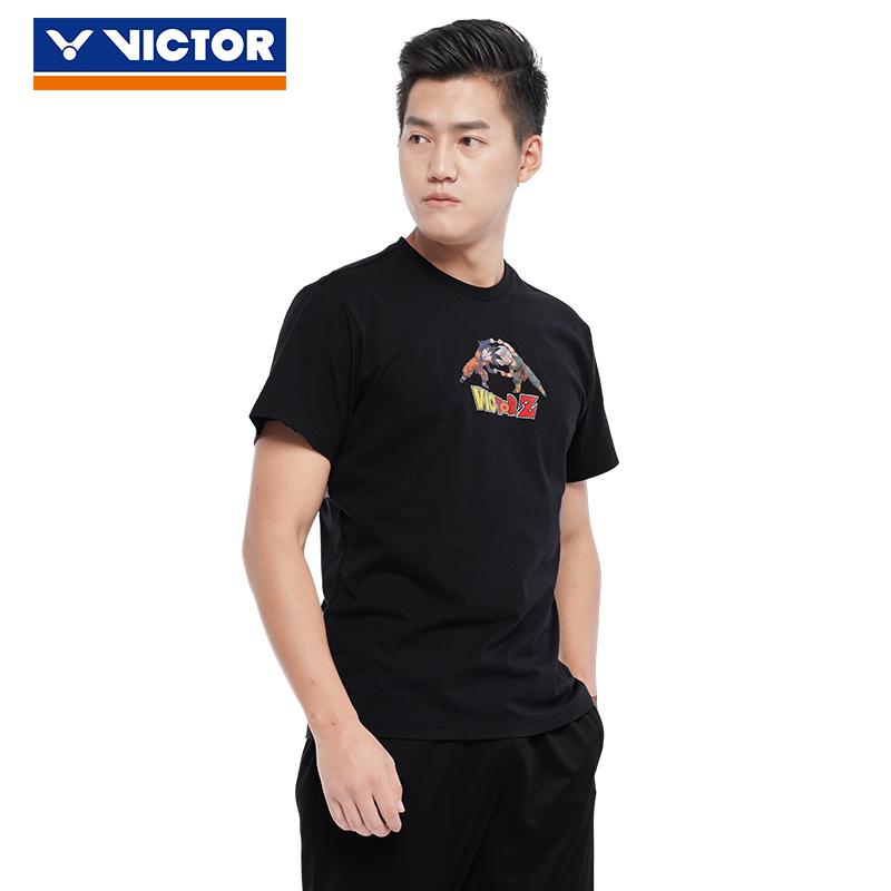 新款VICTOR胜利羽毛球服七龙珠联名男女运动黑色T恤速干透气T-DBZ