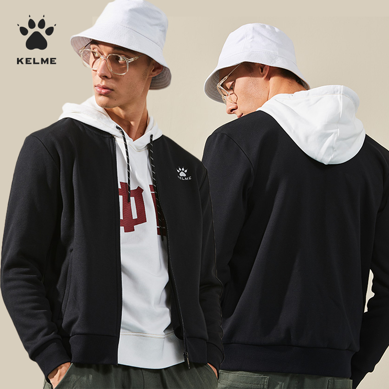 卡尔美外套男秋冬保暖加绒加厚夹克立领运动足球训练服棒球衫上衣3891369