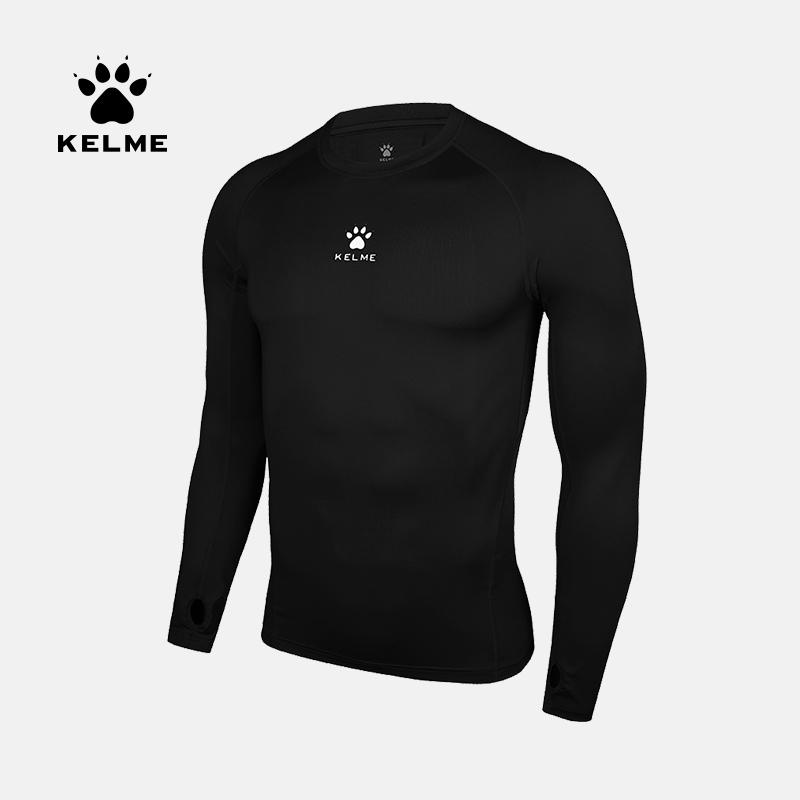 KELME卡尔美运动T恤长袖透气健身衣弹力压缩紧身服训练篮球拇指扣3881110