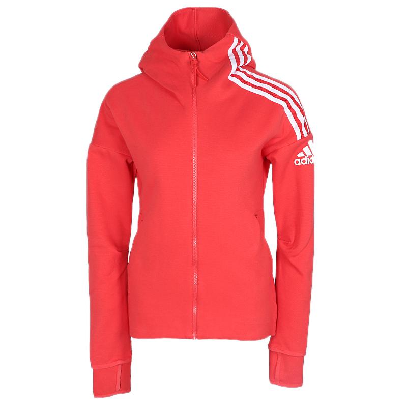 Adidas阿迪达斯夹克女上衣2020新款针织衫连帽跑步红色外套FL1958