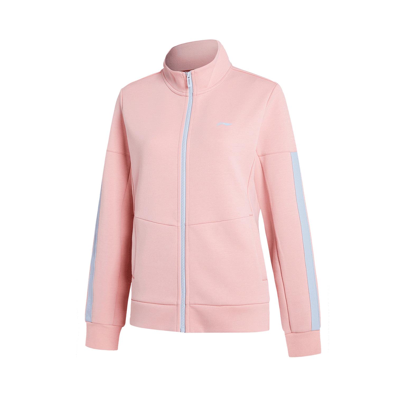 李宁 AWDP888-1-2  团购339无帽开衫卫衣女 赤樱红 粉色