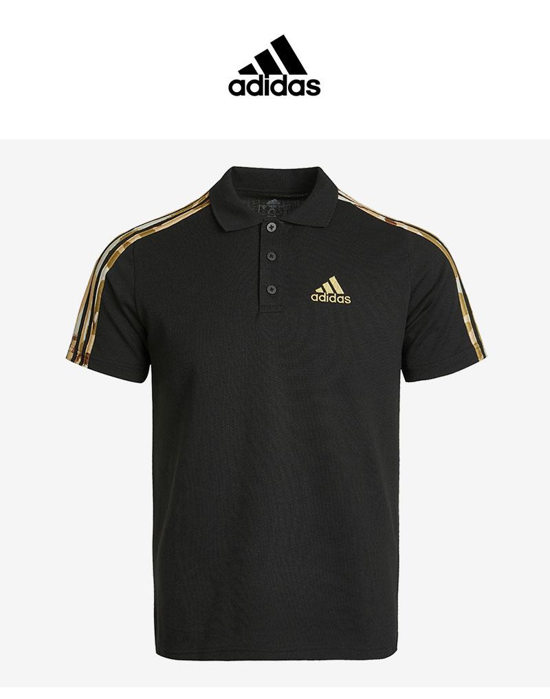 阿迪达斯POLO衫男装2021夏季新款翻领运动T恤短袖黑色半袖GK9616