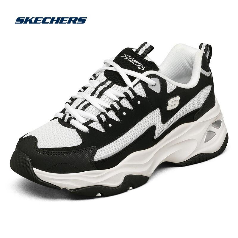 Skechers斯凯奇男女同款鞋老爹鞋闪电熊猫鞋运动鞋休闲鞋237225-BKW