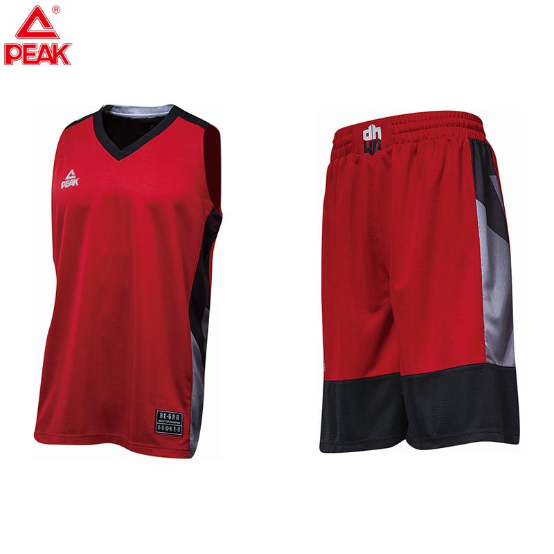 匹克PEAK男子篮球短套装透气比赛篮球服队服F781001-深红-橙黄-大白-彩蓝-黑色