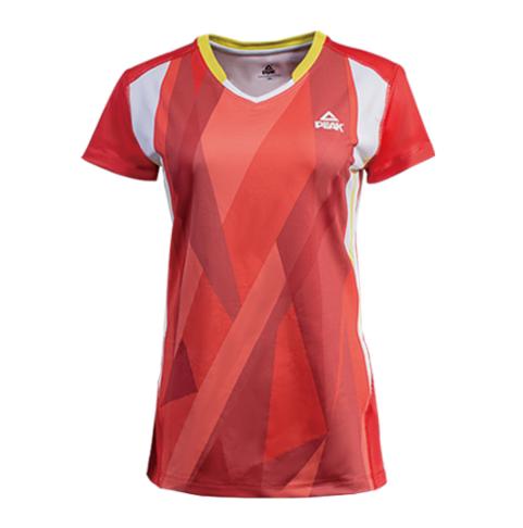 匹克PAEK 综合运动服装 女 排球服 V领短T恤 F874038-大红-冰晶蓝
