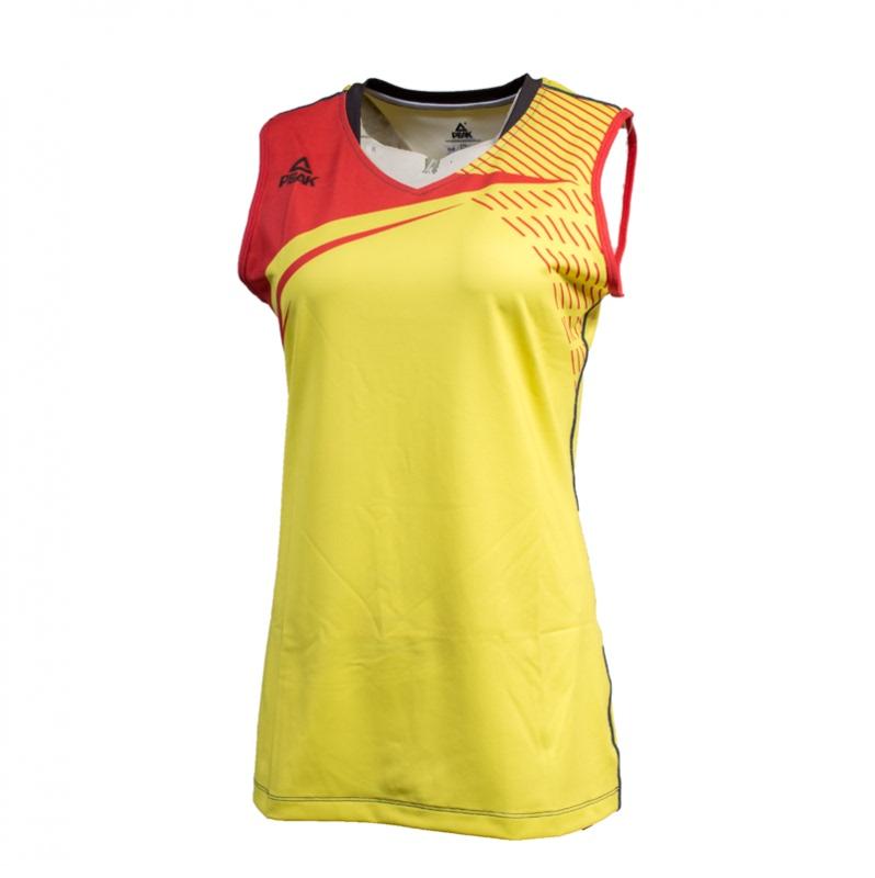 匹克PAEK 训练系列 女 运动背心T恤 针织排球服 F874058-闪耀黄-大白
