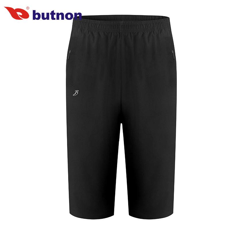 butnon巴特侬男士运动短裤七分裤夏季透气舒适梭织运动裤 9305-黑色