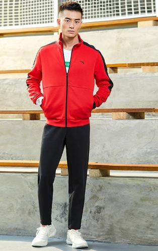 安踏运动套装男2021新品开衫立领外套直筒小脚长裤跑步两件套  经典红/明月蓝/基础黑 952037766-1-2-3