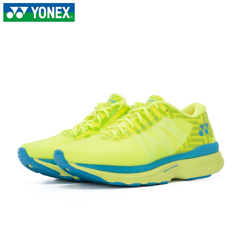 尤尼克斯(YONEX)跑步鞋 2020新款男女休闲时尚舒适轻便耐磨透气 动力垫科技缓震运动鞋 女子 SHR100LEX-酸黄-水蓝-藏青色/粉红