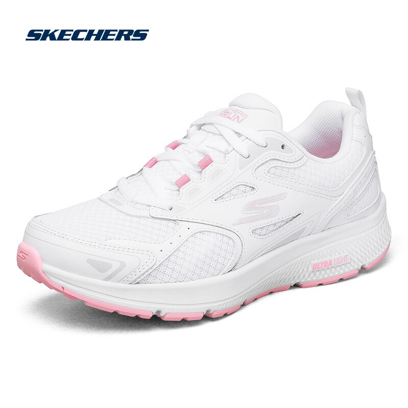 Skechers斯凯奇女鞋软弹轻便减震跑鞋跑步鞋休闲鞋运动鞋 128075-WPK-BKPK