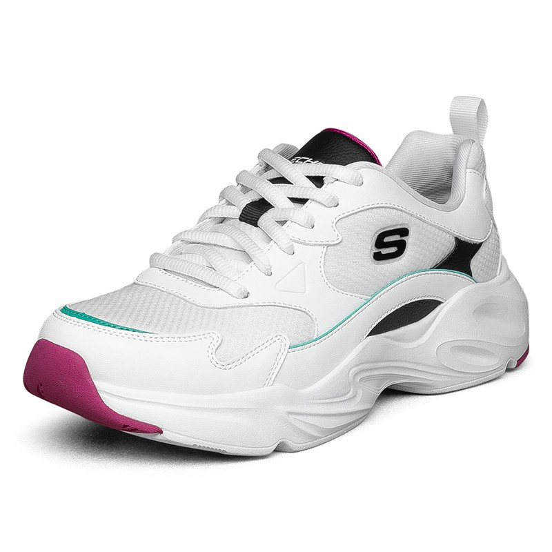 Skechers斯凯奇女鞋 2021春季新款运动鞋跑步透气时尚耐磨休闲鞋厚底老爹鞋 66666310-WBK-WPK-BKPK