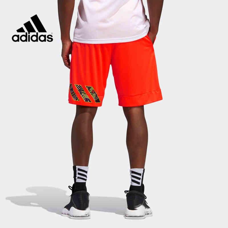阿迪达斯 红色篮球短裤2021夏季新款美式球裤训练健身五分裤 GH7942