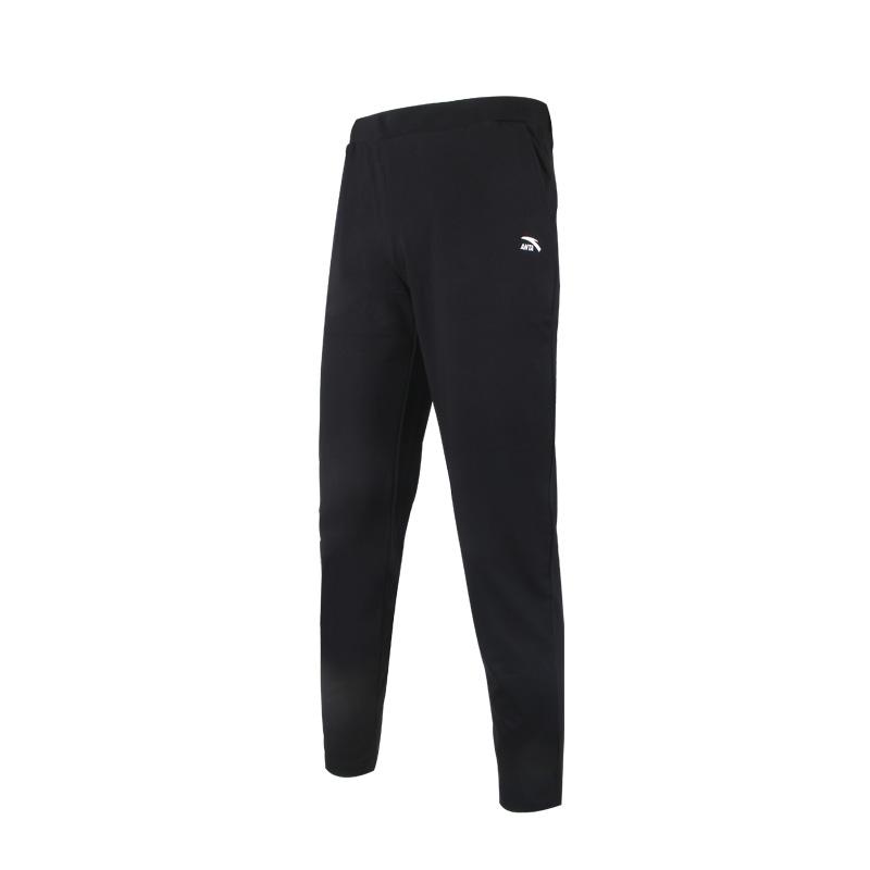 安踏女裤2021春新款舒适潮流透气跑步针织运动长裤 162118315-1-黑色