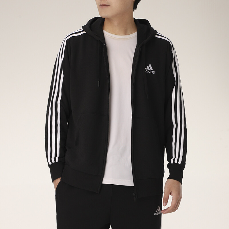 Adidas阿迪达斯男装 2021春季新款运动服休闲透气连帽夹克外套 GK9032