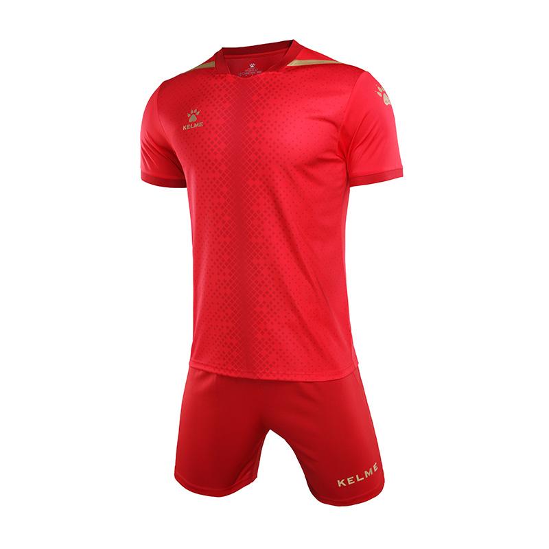 kelme卡尔美 短袖足球服套装比赛训练球衣 3801098  红色 、彩蓝色 、白色、深灰