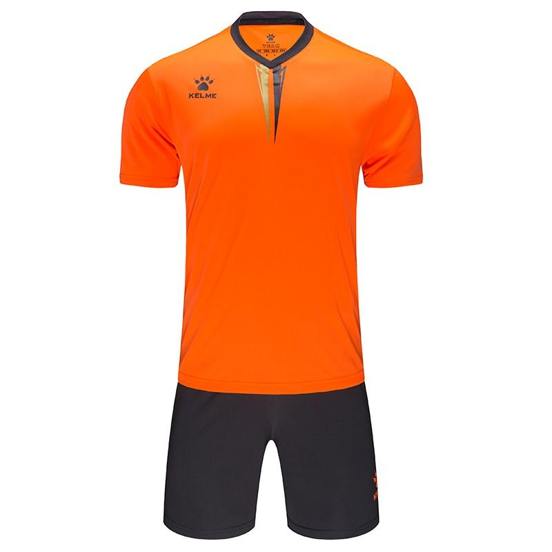KELME卡尔美足球服套装男 比赛训练服短袖球衣3891047 荧光橙/铁灰 、白/荧光蓝 、 红/白 、 彩蓝/白