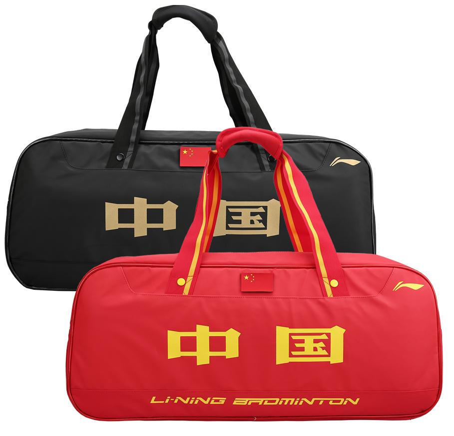 2020款LINING李宁羽毛球包矩形方包手提大容量6支装中国队 ABJQ068-1-红色、ABJQ068-2-黑/金