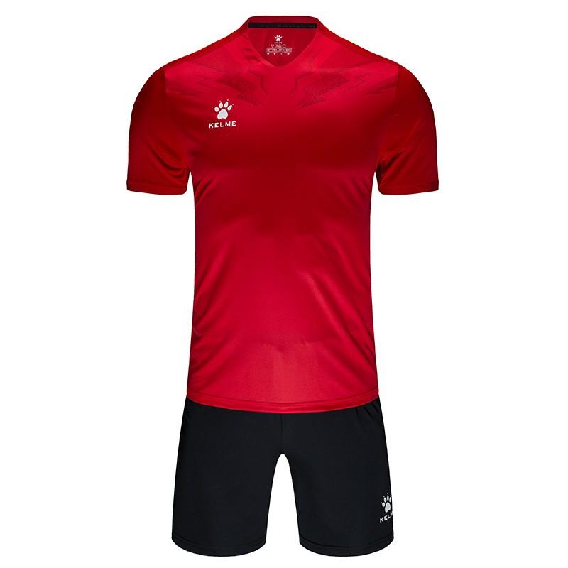 KELME卡尔美足球服套装男比赛训练服队服短袖球衣 3891049 红/深红、粉/铁灰、深蓝/荧光玫红 、黄/黑