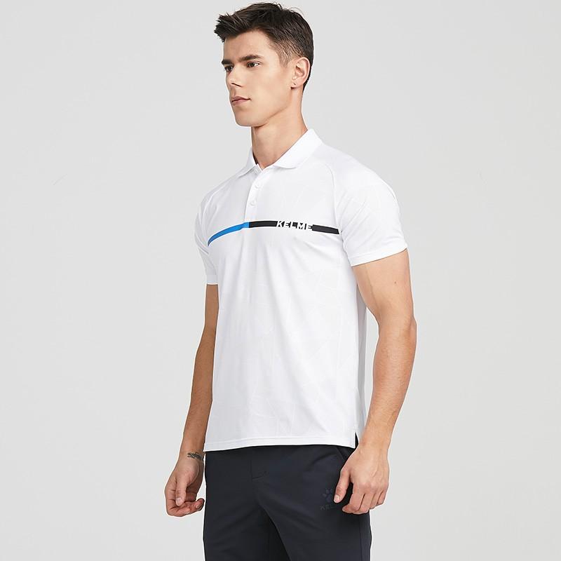 KELME卡尔美 POLO衫男士2021春夏新款透气干爽短袖 运动休闲翻领T恤 8153PL1005 白色、彩蓝、黑色
