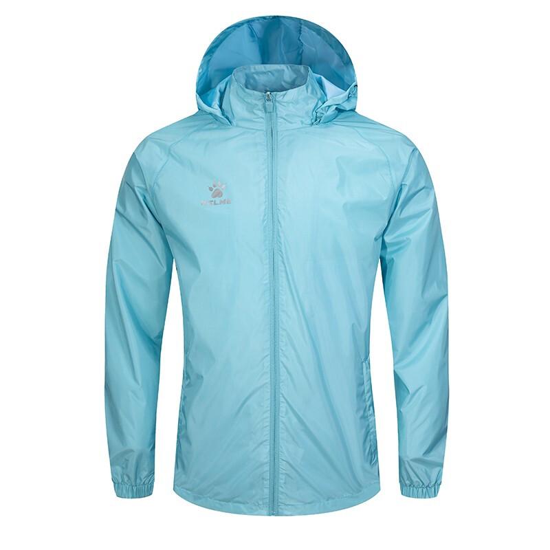 KELME卡尔美足球训练运动风衣男防风防水雨户外跑步健身外套男3801241 浅蓝