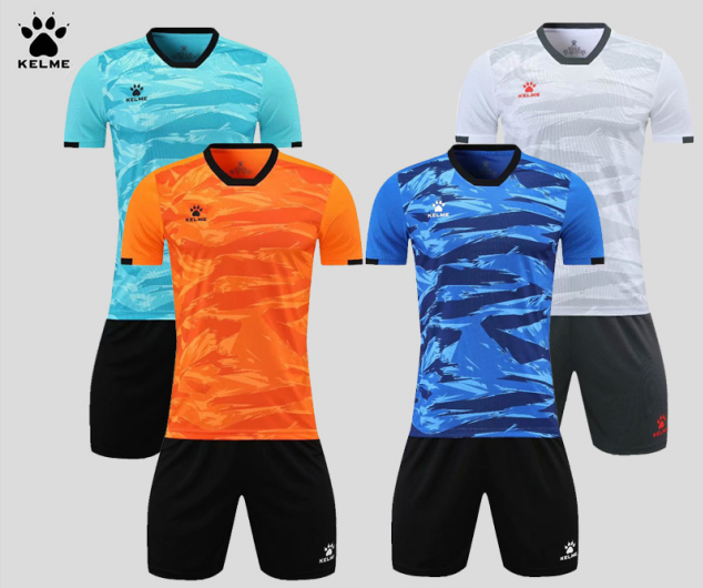 KELME卡尔美足球服运动服套装成人短袖球衣训练服8151ZB1003 白色、彩蓝、荧光橙、松石绿
