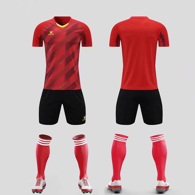 KELME卡尔美球衣足球服短袖套装成人训练服8151ZB1005 红色、蓝/灰、白色、绿色、彩蓝