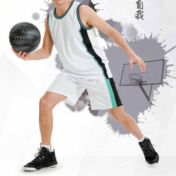 中健篮球服男套装 21507-白色-正天蓝-黑色-大红